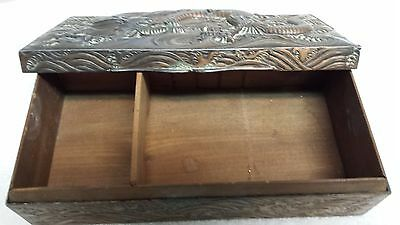 Dragon Box Oriental Chinese Vtg Antique Copper Plated Metal and Wood