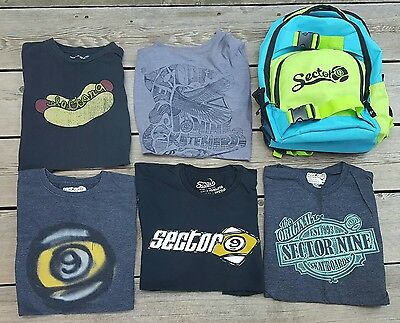 Men's XL SECTOR 9 Skateboard T-Shirts - Lot of 5 - Plus! SECTOR 9 Backpack