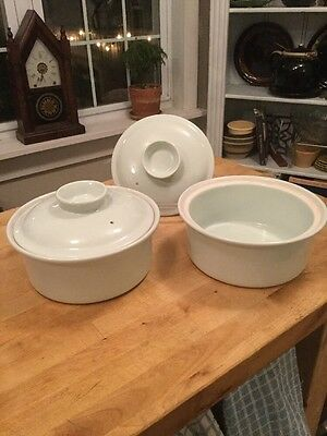 """Vintage Pair Ernest Sohn Creations For Hall Pottery 8.5"""" Covered Casseroles"""