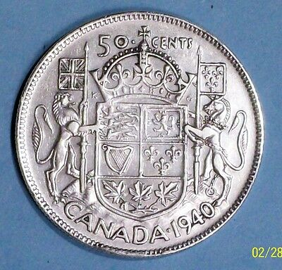 Canada 50 Cents 1940 Very Fine/extra Fine 0.8000 Silver Coin
