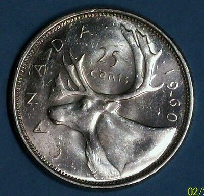 Canada 25 Cents 1960 Extra Fine/almost Uncirculated  0.8000 Silver Coin