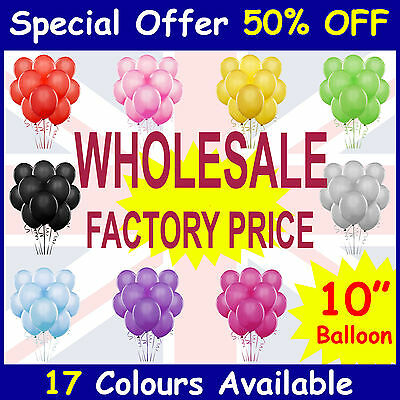 "100 X 10"" Latex Balloon Party Ballons Helium 15 Colours Wedding birthday balons"