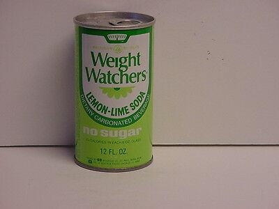 Weight Watchers Lemon-Lime Steel Soda Can Pull Tab Bottom Opened Dated 1974