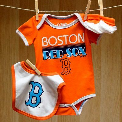 Boston Red Sox Baby Infant Retro Creeper Bib Booties (FREE SHIPPING) 3-6 months