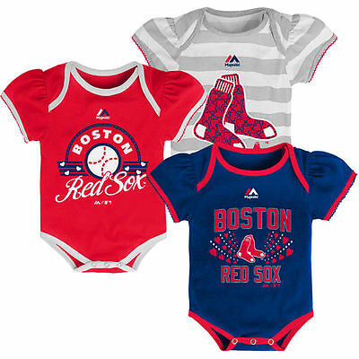 Boston Red Sox Baby Infant Girl 3 Pack Onesies Creepers (FREE SHIPPING) 0-3 mo