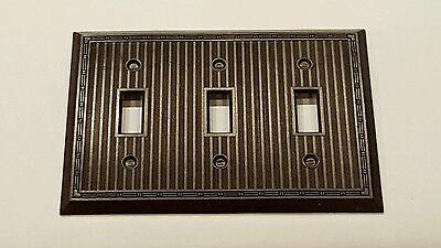 Vtg Art Deco Brown BAKELITE Triple Toggle Wall Switch Plate Cover  NOS