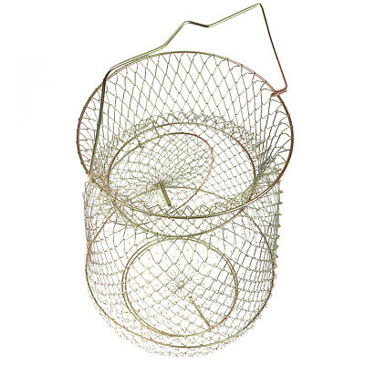 Collapsible Steel Wire Fish Basket Shrimp Crab Net Cage 25cm - Gold