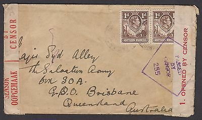 Northern Rhodesia 1941 cover sent surface mail to Australia KGVI censored