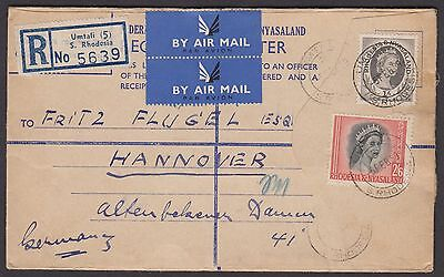 Rhodesia & Nyasaland 1959 Registered Letter sent airmail to Germany QEII