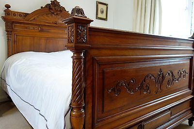 Stunning Antique French  Walnut Bed with Matching Pedestal