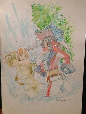 Jungle Woman and Pirate Original Art by Pasquale Qualano Water colour 11.5 x 17