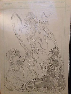 Poison Ivy, Harley Quinn, Batgirl. Original Art by Pasquale Qualano Pencil.