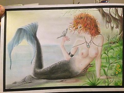 Mermaid Original art by Jonatas coloured pencil 11.5 x 17