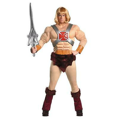 NEW He-Man Masters of the Universe Costume size XXL Muscle Bodysuit Mens Wig