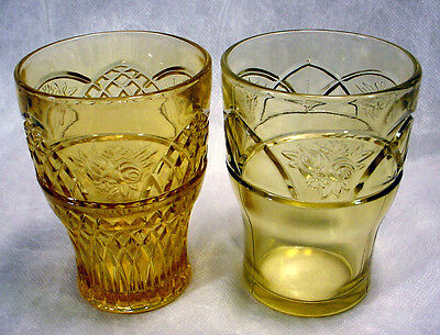 2 MINT Vintage AMBER Depression Glass ROSEMARY Dutch Rose TUMBLERS Federal LOT