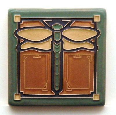 4x4 Arts & Crafts Dragonfly Tile in Ginger by Arts & Craftsman Tileworks