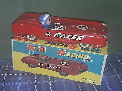 Red China  RACE CAR RACER  Vintage Battery Operated  Tin Toy RARE