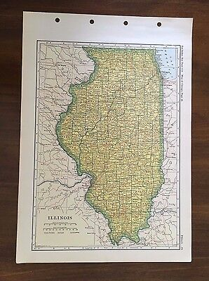 1928 Original Map of the State of Illinois, Winston Atlas of the World