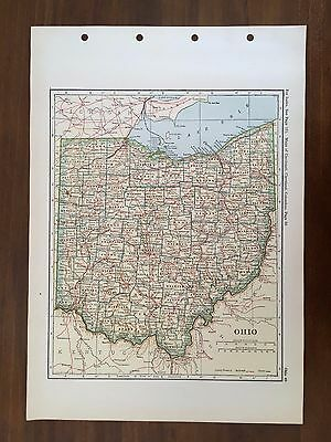 1928 Original Map of the State of Ohio Winston Atlas of the World
