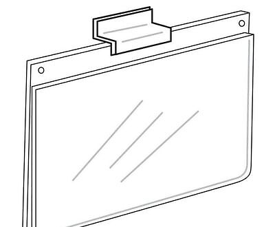 """Slatwall Acrylic Sign Holder 2""""x3"""" Pieces Lot x 6 Clear Retail Display Office"""
