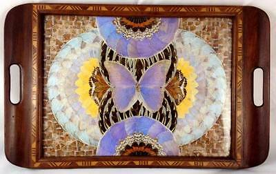 Vintage Brazil Casa ABC Butterfly Wing Serving Inlaid Wood Serving Tray Morpho