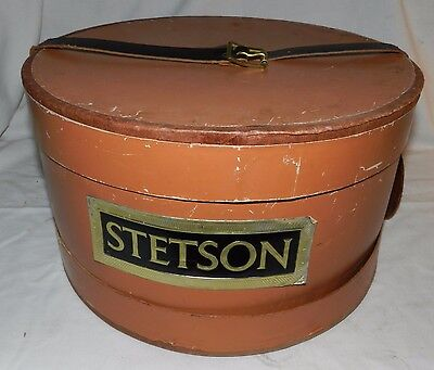Vintage Orange Cardboard Stetson Hat Box with leather strap and handle