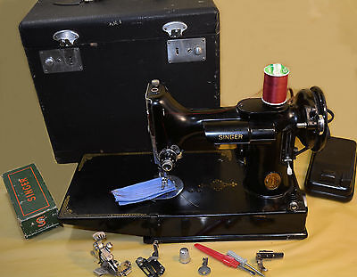 1946 Singer Featherweight 221 Sewing Machine with Case & Attachments & New Motor