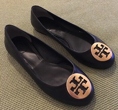 7d58583d67f TORY BURCH CRACKLED Gold w  Gold Medallions Reva Flats Sz 6.5 Retail ...