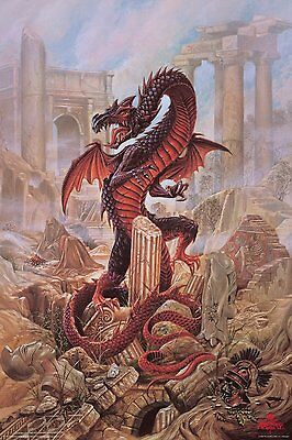 Dragon Art Pendragon - Alchemy Gothic Art Aquarius Fantasy Poster 24x36
