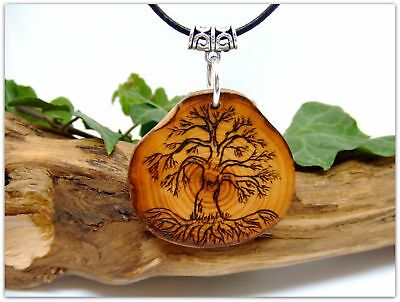 Yggdrasil Wooden Pendant Necklace Handcrafted in English Yew wood Tree of Life