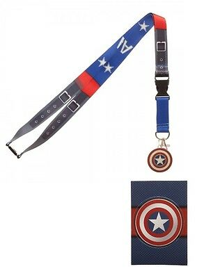 Marvel Comics Captain America Suit Up Lanyard Badge Id Holder Keychain Sticker