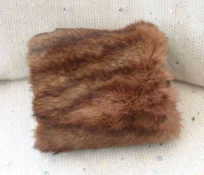 Vintage real brown FUR MUFF with zip pocket - great for use or as a prop