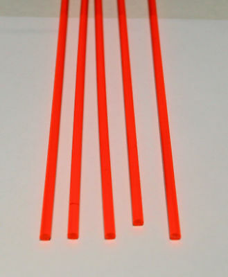 "5 Pc 1/4"" Diameter 24"" Long Clear Orange Acrylic Fluorescent Plastic Colored Rod"