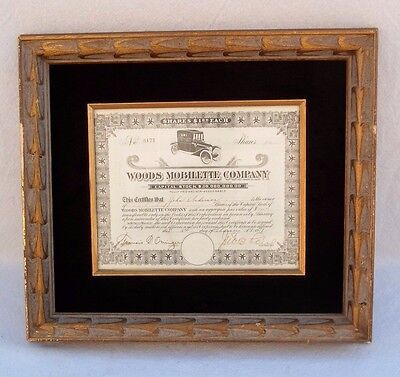 "Rare Framed 1917 ""woods Mobilette Company Stock Certificate #8171 Arizona Seal"