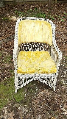 Antique Victorian Wicker Cottage Style Rocking Chair