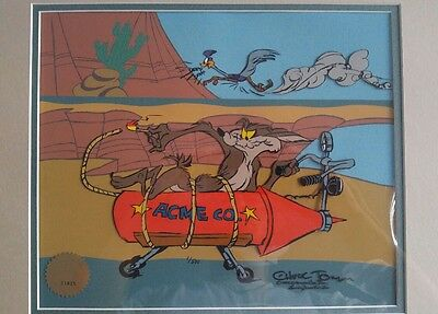 Warner Brothers Cel Wile. E Coyote and Road Runner Chuck Jones signed 1 of 500