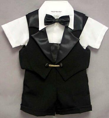 Baby Boy 4 pcs Dressy Black Short Tuxedo Suit Bow tie Vest 3M-4 Yrs Made in USA