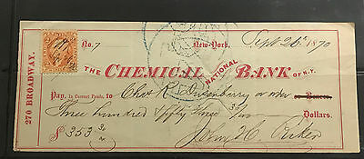 1870 Chemical Bank Of New York W/revenue Stamp Sharp Note And Signatures