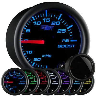 52mm GLOWSHIFT TINTED 7 COLOR TURBO BOOST GAUGE KIT 95-99 ECLIPSE GSX GST