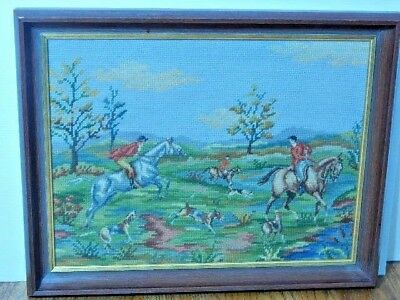 """English Hunting Scene"" (Horses, riders, dogs) Needlepoint Framed 16"" x 20 3/8"""