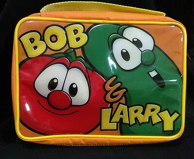 Veggie Tales Bob Larry Orange Yellow 10X8 Book Bible Carry Zip Case Lunch Tote