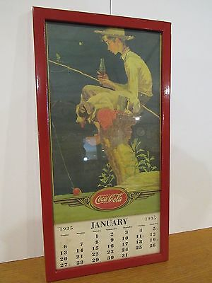 Original 1935 Coca Cola Calendar Sign By Norman Rockwell Boy & Dog Fishing Rare