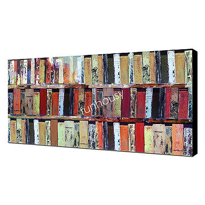 Modern Canvas Wall Art Abstract Book Oil Painting Hand-Painted Home Decor