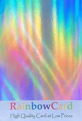 20 Sheets - Silver Rainbow Holographic A4 Crafting Card 280 Gsm