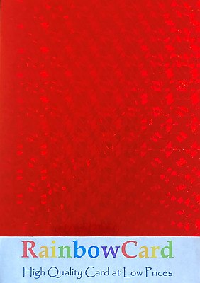 20 Sheets - Cracked Ice Red Holographic A4 Crafting Card 260 Gsm