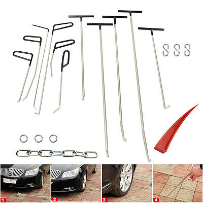 Car PDR Hail Dent Puller Rods Tools Kits+Paintless Removal S Hook+Repair Wedge