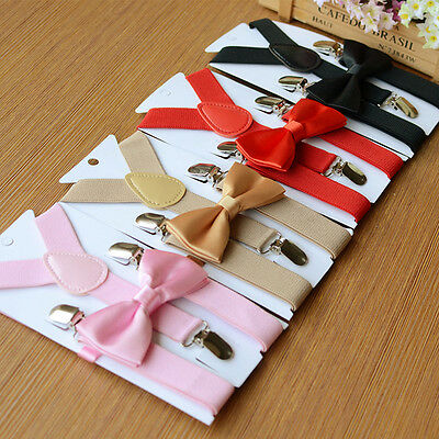 Children Kids Boys Girls Matching Clip-on Elastic Suspenders & Bow Tie Gifts