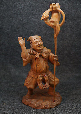 """Antique Hand Carved Old Chinese Man w/ Rod Holding Monkey Statue 7"""" Tall Signed"""