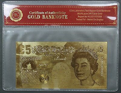 Bank of England £5: 24 Carat Gold Banknote