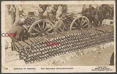 WWI Military Postcard: New Zealanders loading Ammunition
